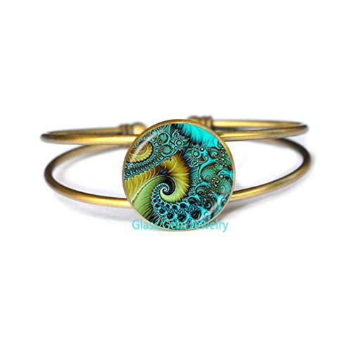 Shell Bangles Bangle (Fibonacci Spiral Bangle Shell Swirls Sacred Geometry Bracelet Golden Ratio Jewelry Fractal Charm Accessories Gift for Her,Q0296)