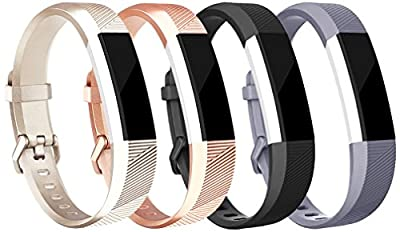 Tobfit Fitbit Alta HR Bands for Women and Men, Newest Style - Smooth TPU Rose Gold and Gold Classic Fitbit Alta Watch Accessories Wristbands with Metal Buckle / Clasp for Fitbit Alta HR and Alta