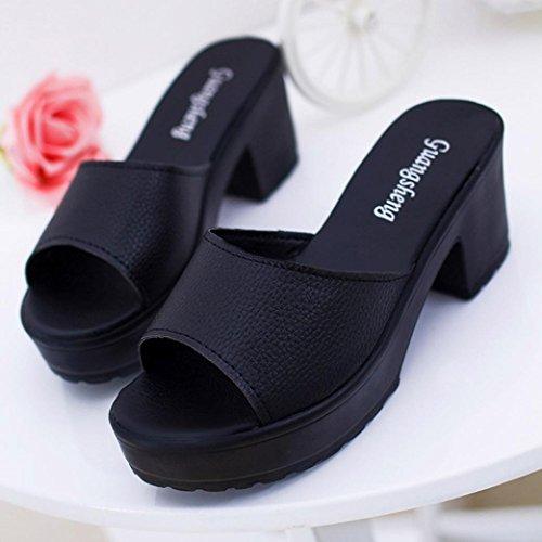 Transer® Damen Keilabsatz Zehentrenner Künstliche PU-Leder+Gummi Sommer Casual Sandelholz Schuh (Bitte achten Sie auf die Größentabelle. Bitte eine Nummer größer bestellen. Vielen Dank!) Schwarz
