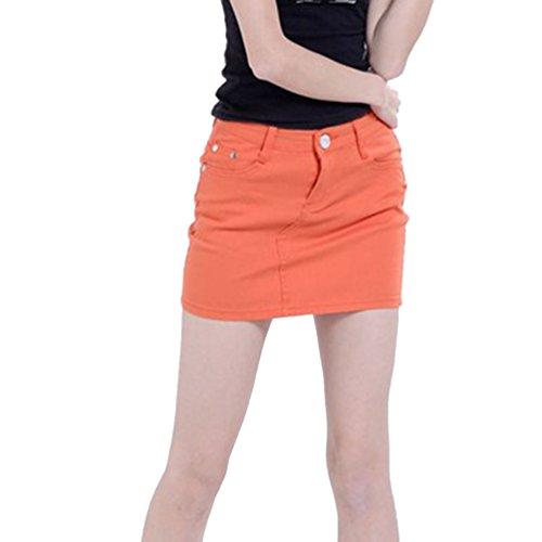 lasticit en Slim Jeans Crayon Jupe Jupe Mini Courte Denim Cayuan Dcontracte Orange Jupe Denim t Femmes 580nzqwE