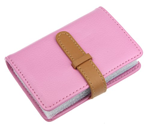 DKER PU Leather Credit Card Holder with 26 Card Slots - Book Style - Size 4.2 X 3 X 0.7 Inches (Pink)