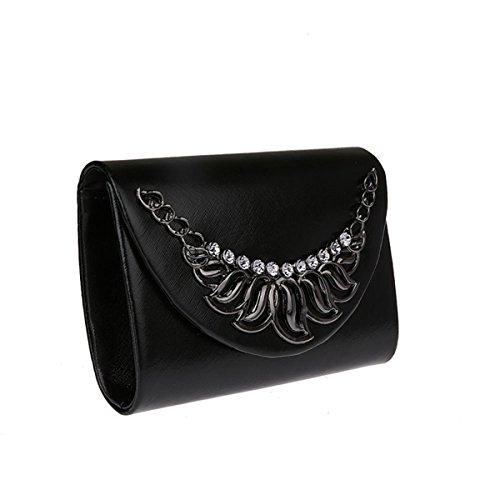 Aronvivi - Cartera de mano para mujer silvery2 talla única black2