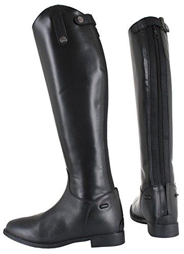 Horka Childs cuero hípica mostrando/competencia botas ancho/estándar de la pantorrilla negro