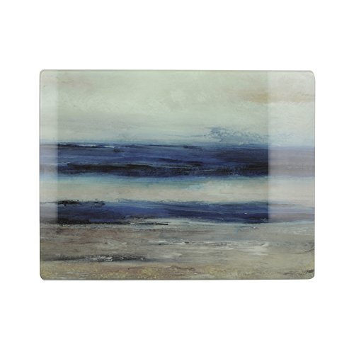 Creative Tops 'Blue Abstract' Glass Worktop Saver/Serving Board, 40 x 30 cm (15.5