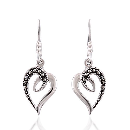 925 Sterling Silver Swirl Heart with Genuine Marcasite Dangle hook earrings (Marcasite Heart)