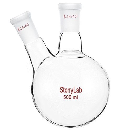 StonyLab Glass 500ml Heavy Wall 2 Neck Round Bottom Flask RBF, with 24/40 Center and Side Standard Taper Outer Joint - 500ml ()