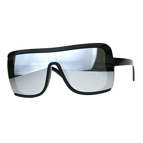 Oversize Color Mirror Shield Robotic Futuristic Sunglasses Silver