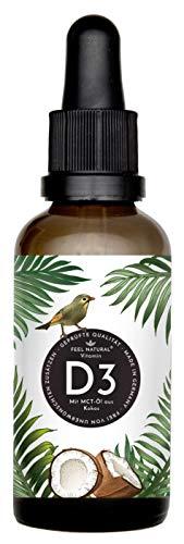 Vitamin D3 - Laborgeprüfte 5000 I.E. pro Tropfen - 50ml (1750 Tropfen) - in MCT-Öl aus Kokos gelöst - Ohne Zusätze - Hergestellt in Deutschland