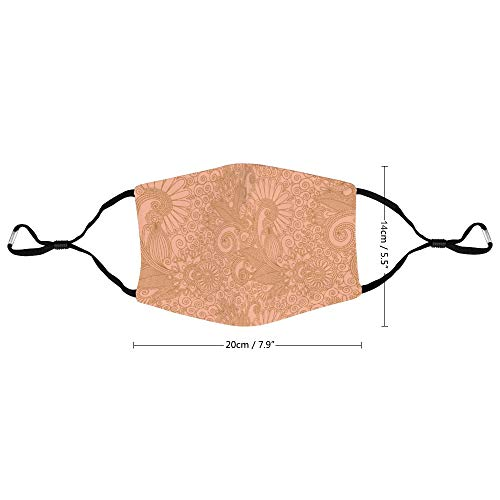 Beige Ethnic Style Pattern Unisex Adjustable Earloop Face Mask, Anti-dust Mouth Mask, Washable and Reusable Protection Mask