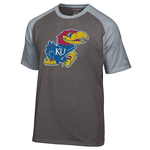 Kansas Jayhawks Mascot - Champion NCAA Kansas Jayhawks Men's Men's Mascot Short sleeve T-Shirt, Large, Gray