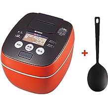 "TIGER Rice Cooker 5.5gou (990ml/2pints), High Pressure IH Rice Cooker ""TAKITATE"" JPB-G102-DA Urban Orange And MUJI Silicone Cooking Spoon 26cm,"