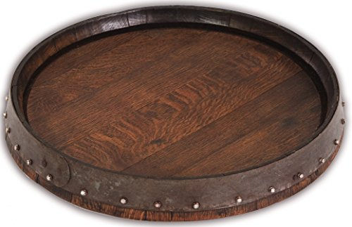 Quarter Barrel Lazy Susan Table Top in Rich Dark Walnut