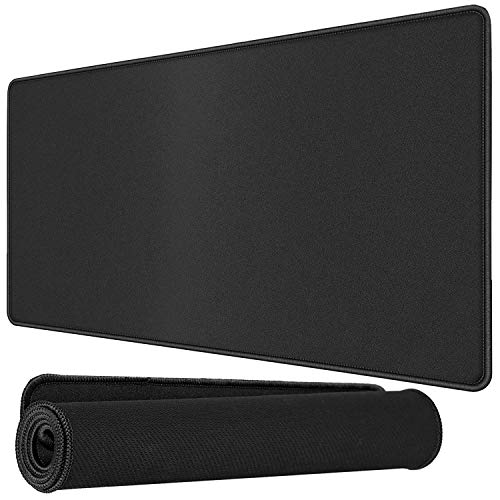 Storin Large Size (600mm x 300mm) Extended Mouse Pad with Stitched Embroidery Edge, Premium-Textured Mouse Mat, Non-Slip Rubber Base Mousepad for Laptop, Computer PC – Red or Black Edge