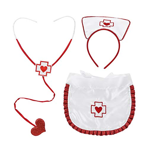 CHICTRY Nurse Costume Set 3Pcs Nurse Hat Headband Stethoscope and Apron for Halloween Role Play Party Fancy Dress White&Red One -