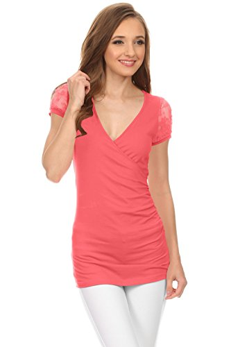 Womens Surplice Cleavage Top Blouse product image