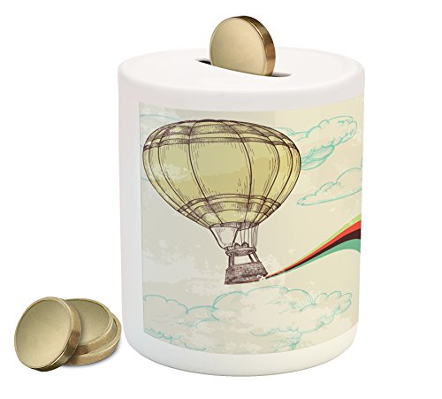 Ambesonne Vintage Piggy Bank, Hot Air Balloon in Rainbow Destination Adventure Follow Your Dreams Icon Pop Boho, Printed Ceramic Coin Bank Money Box for Cash Saving, ()