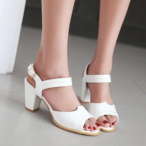 Bloc Chaussures TAOFFEN Peep Femmes Toe Moyen Sangle Talons Blanc Classique Cheville Sandales De XWfqZ