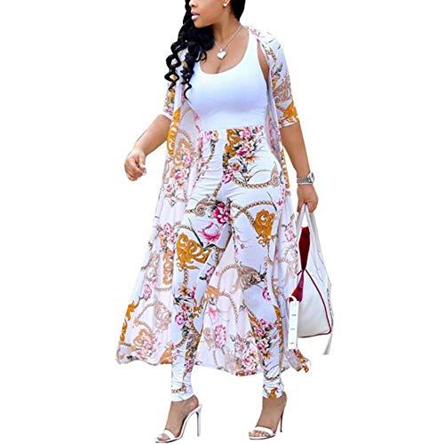 (ChengQi Women Fashion Long Coat Jacket Casual Suit Pants Two-Piece,Long Sleeve Coat and Trousers Set(White,XL))
