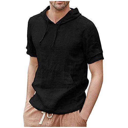 (TOPUNDER Mens Linen Shirts Pullover Hoodie Casual Lightweight Short Sleeve T Shirts Top Blouse Black)