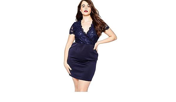 Mujeres gordas XL azul de Marina de guerra v cuello de manga corta lado cremallera invisible encaje mosaico impresión Vestido , deep blue , xxxl: Amazon.es: ...
