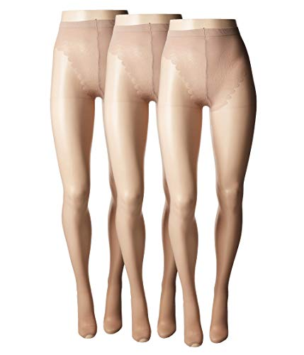 HUE Women's So Sexy Toeless Sheer with Lace Control Top Hosiery (3-Pack) Tan 3