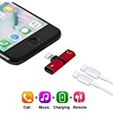 2in1 Cables Dual Headphone Audio Charger Adapter Splitter for iPhone X 7 8 (Red)