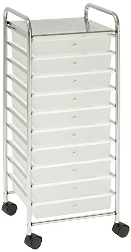 Plastic Cart Storage - Seville Classics Large 10-Drawer Organizer Cart, White