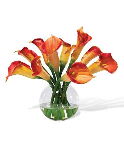 Calla Lily Silk Centerpiece - Orange (Lilies Water Silk)