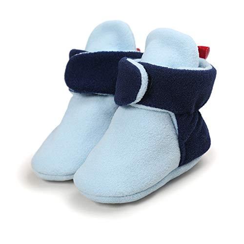StyleZ Unisex-Baby Fleece Booties Newborn Toddle Soft Warm Crib Shoes with Anti-Slip Bottom Winter Snow Boots for Baby Boys Girls (13cm, Blue)