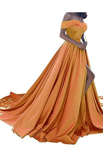 (Homdor Split Off Shoulder Prom Evening Dress for Women A-Line Satin Formal Gown Orange Size 12 )