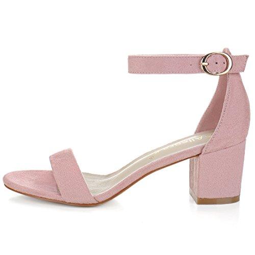 Las Sandalias Allegra K Para Mujer Con Tacón En El Tobillo Y Correa De Color Rosa Claro-imitación De Gamuza