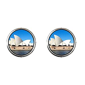 Chicforest Silver Plated Travel Sidney Opera House Photo Stud Earrings 10mm Diameter