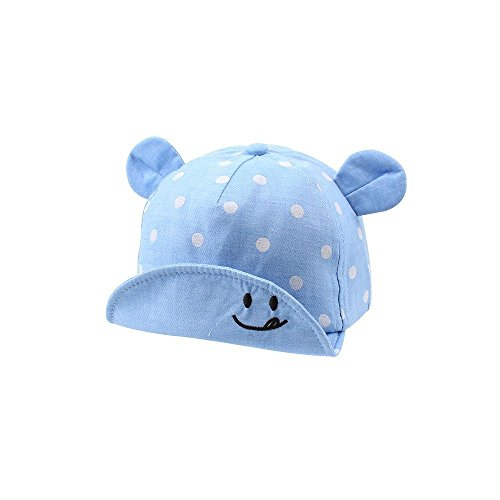 XIAOHAWANG Dot Partten Baby Caps Summer Girl Boys Sun Hat with Ear Spring Summer Newborn Photography Props (Blue)