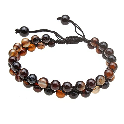CCSC-PEC Semi-Precious Gemstones Hand-Woven Double Row Beaded Bracelet (Brown-Agate) Gemstone Double Row Bracelet