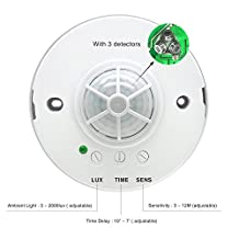 Sensky 360 degree Ceiling Mounted Occupancy sensor, Time delay, sensor distance and light sensor adjustable motion sensor switch (110V-240VAC, 1200W, Max 12 M detection distance)
