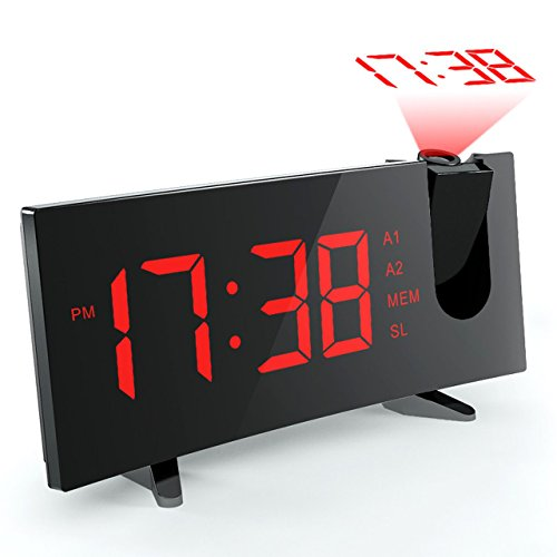 Projection Alarm Clock, [Curved-Screen] Pictek Projection Clock, Digital FM Clock Radio with Dual Alarms, 5 LED Display, USB Charging, Battery Backup, Red