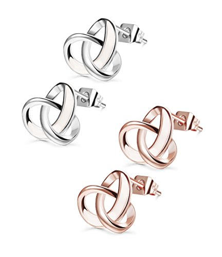 Set Celtic Love Knot (Udalyn 2 Pairs 20G Twisted Love Knot Earring Stainless Steel Heart Post Earrings For Women Girls Rose Gold-tonr)