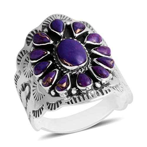 925 Sterling Silver Pear Purple Turquoise Southwest Jewelry Statement Ring for Women Gift