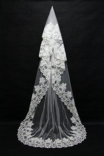 Lydia Elegant wedding veil long lace edge bride veil exquisite hand-dressing long tailing cathedral veil , white , 3m