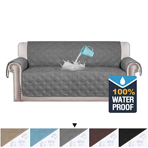 H.VERSAILTEX 100% Waterproof Sofa Slipcovers for Three Cushion Sofas Slip Resistant Furniture Protector, Quilted Couch Covers for Sofa, Couch Slip Cover for Pets, Kids, Cats (Sofa: Grey)