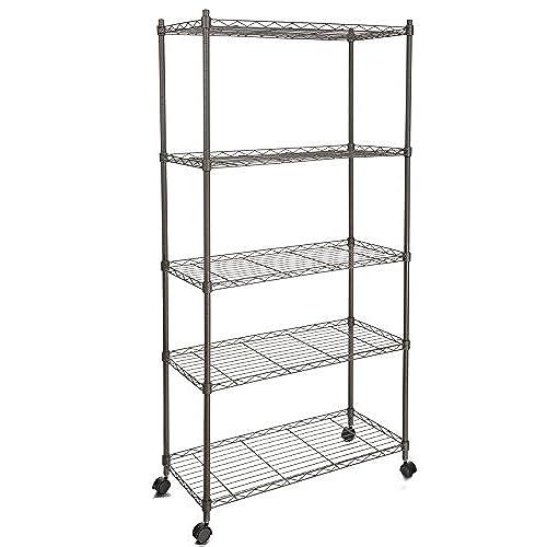 Homdox 5 Shelf Shelving Unit On Wheels Wire Shelves ,shelving Unit Or  Garage Shelving, Kitchen Storage Racks Commercial Shelving, Gray