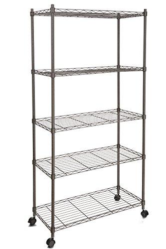 Homdox Metal Shelves,5-Shelf Shelving Unit on Wheels,Steel Wire Shelves,Garage Shelving, Kitchen Storage Racks Commercial Shelving, Gray