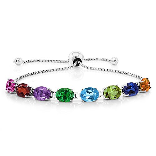 Build Your Own Unique Bracelet - Personalized 8 Birthstones Adjustible Bracelet in 925 Sterling (Silver Wholesale Gemstone Bracelet)