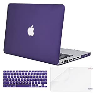 Mosiso Plastic Hard Shell Case with Keyboard Cover with Screen Protector Only for Old MacBook Pro 13 Inch with CD-ROM (Model: A1278, Version Early 2012/2011/2010/2009/2008), Ultra Violet