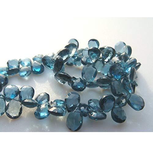 Topaz Blue Faceted Necklace Briolette (1 Strand Natural London Blue Topaz - Pear Shaped Faceted Briolettes - 6x8mm 4