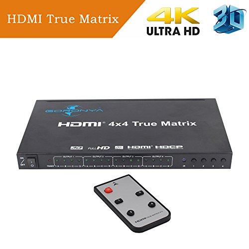 Cheap Goronya Ultra HD HDMI 4X4 Ture Matrix Switcher with IR Remote Control Support HDMI 1.4 4Kx2K 1080P EDID