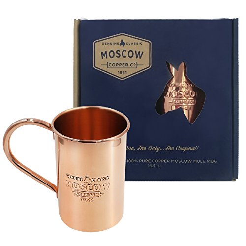 The Mule Company (The Original 100% Pure Copper Mug | 16 oz - Classic, Unlined & Non Lacquered | Heavy Gauge Welded Handle | Gift Box w/ Recipe Book & Polishing Cloth by Moscow Copper Company)