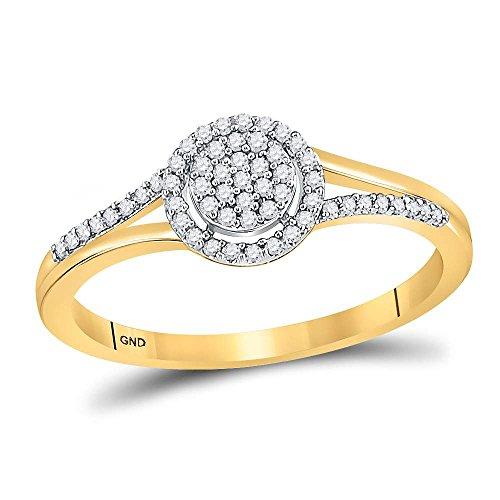Roy Rose Jewelry 10K Yellow Gold Womens Round Diamond Circle Cluster Split-shank Ring 1/6-Carat tw -