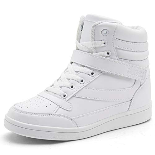 (UBFEN Women's Shoes Hidden Wedges 5.5cm Fashion Sneakers Ankle Boots Bootie Platform Heel High Top Casual Sports White 10 B(M) US)