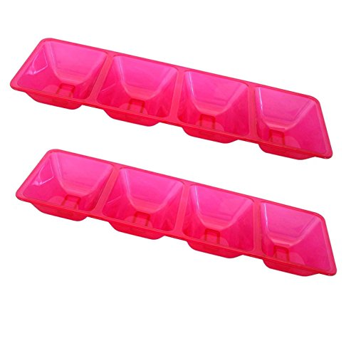 Party Essentials Hard Plastic 4-Compartment Rectangular Serving Trays, 5 x 16 Inches, Neon Pink, 2-Pack